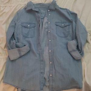 Denim button up collard blouse